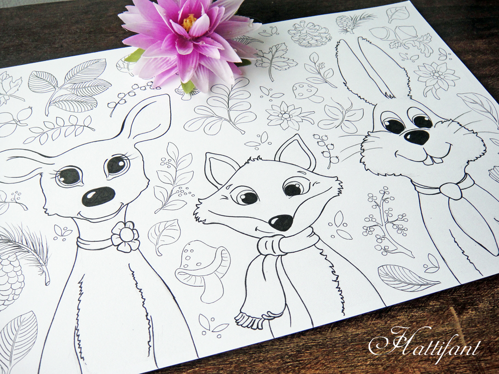 Hattifant's Woodland Animal Coloring Page