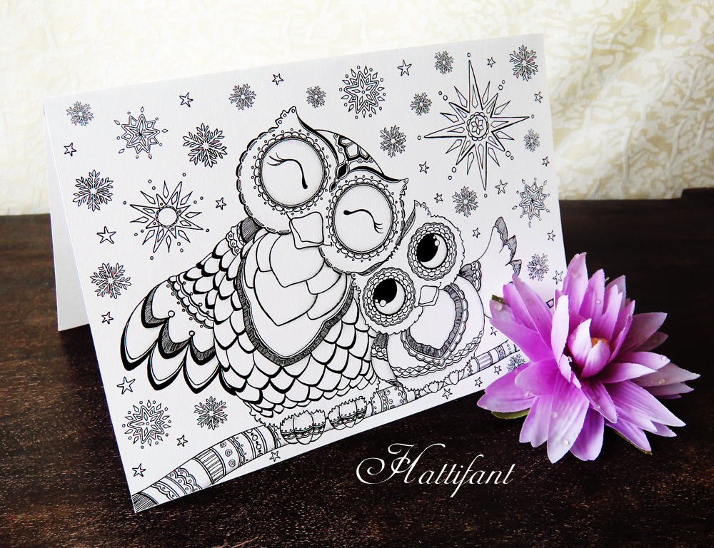 Hattifant's Mama & Baby Owl Foldable Card