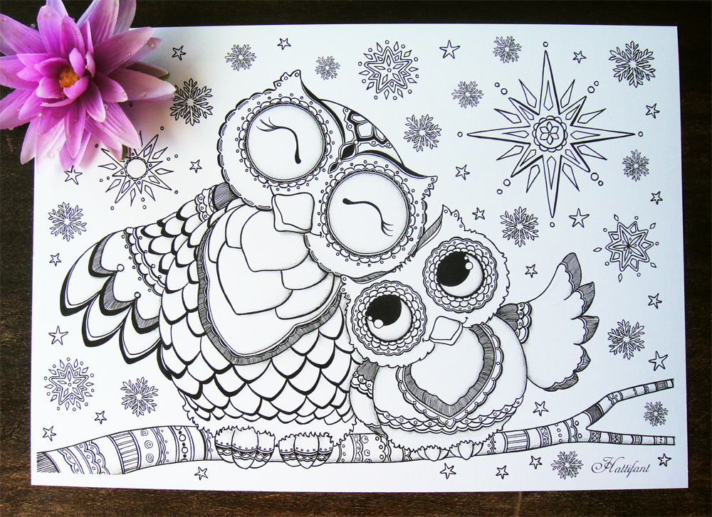 Hattifant's Mama Baby Owl Coloring Pages