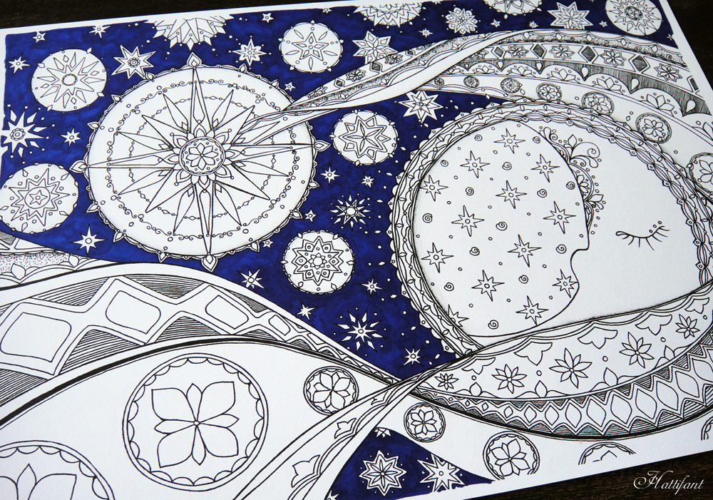 "Hattifant's ""Moon and Stars"" Coloring Page"